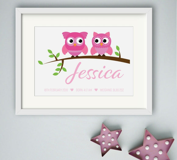 Personalised Owl Theme Girls A4 Print