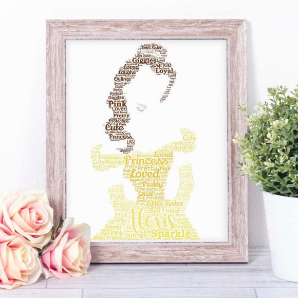 Personalised Princess Belle - Beauty and the Beast WordArt A4 Print