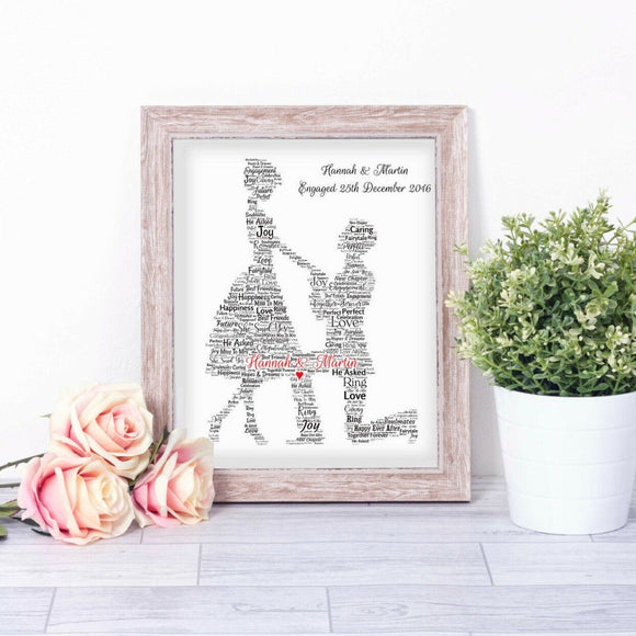 Personalised Proposal Engagement WordArt A4 Print