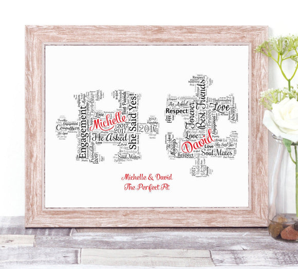 Personalised Jigsaw Puzzle Pieces The Perfect  Fit WordArt A4 Print