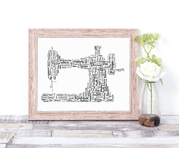 Personalised Sewing Machine WordArt A4 Print