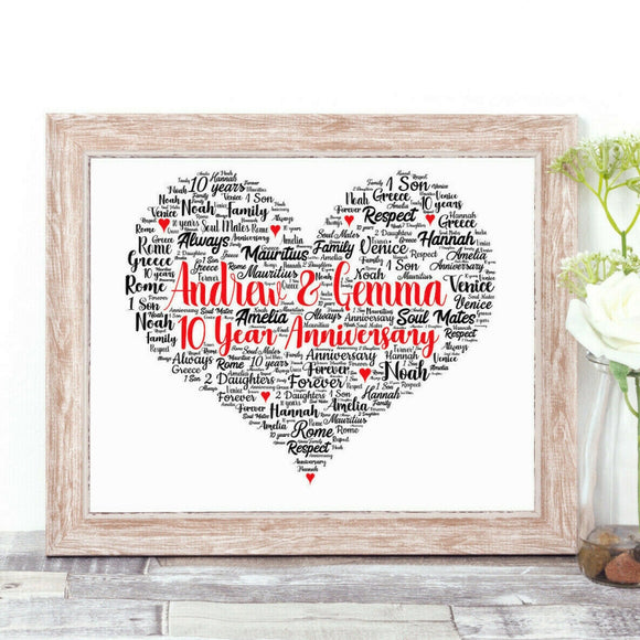 Personalised Special Occasion Love Heart WordArt A4 Print
