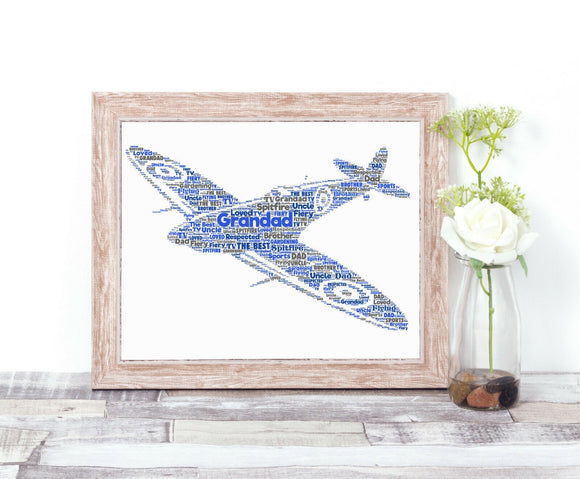 Personalised Spitfire Plane WordArt A4 Print