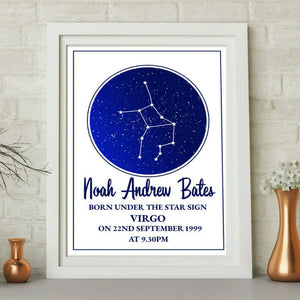Personalised Star Sign Star Map Horoscope WordArt A4 Print