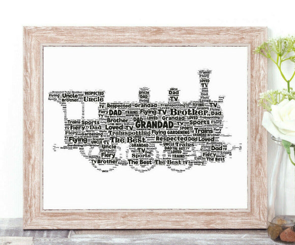 Personalised Steam Train Locomotive WordArt A4 Print