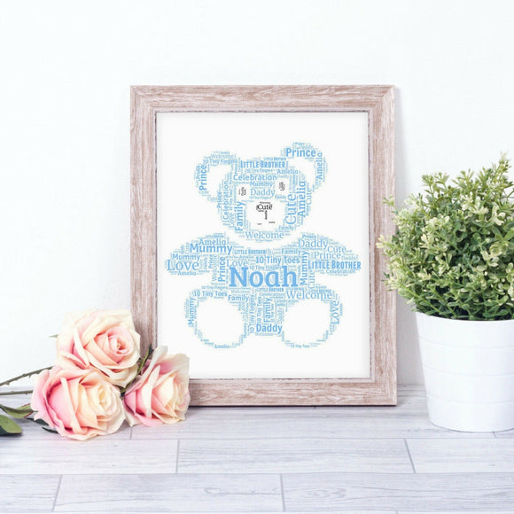 Personalised Teddy Bear WordArt A4 Print