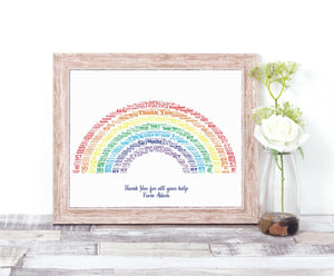 Personalised Thank You Teacher Rainbow WordArt A4 Print