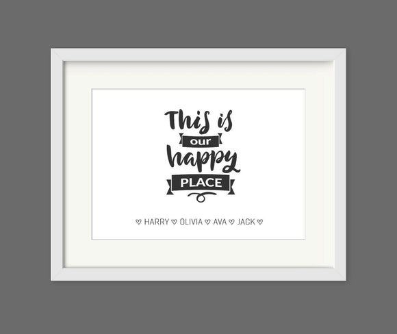 Personalised This is Our Happy Place A4 Print