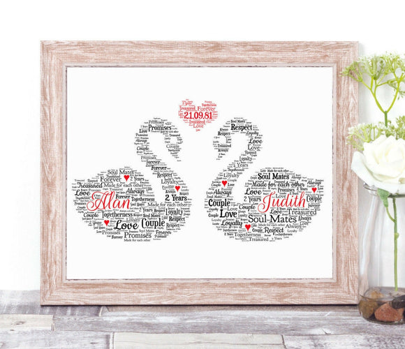 Personalised Two Swans Romantic WordArt A4 Print