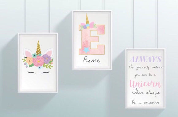 Personalised Ultimate Girls Unicorn Set of 3 A4 Prints