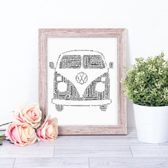 Personalised Volkswagen VW Campervan WordArt A4 Print