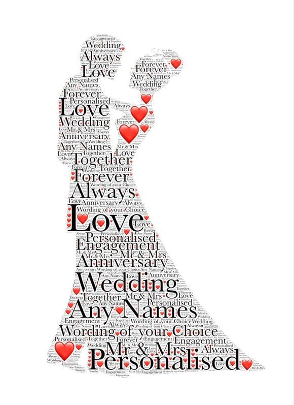 Personalised Wedding Dance WordArt A4 Print