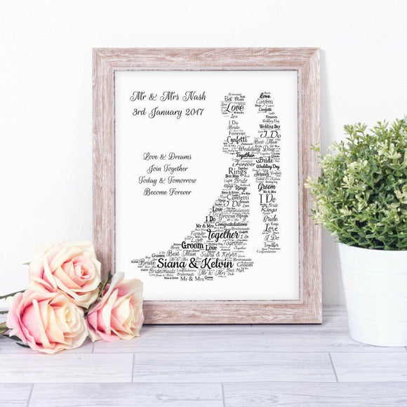Personalised Wedding Day Bride Groom I Do WordArt A4 Print