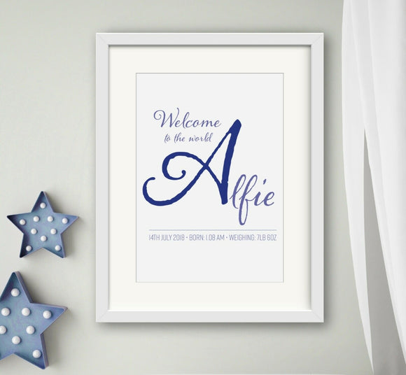 Personalised Welcome To The World Newborn Baby Boy A4 Print
