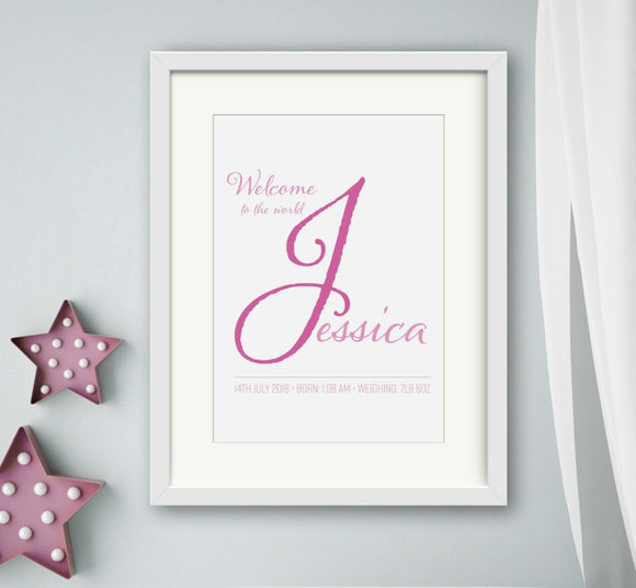 Personalised Welcome To The World Newborn Baby Girl A4 Print