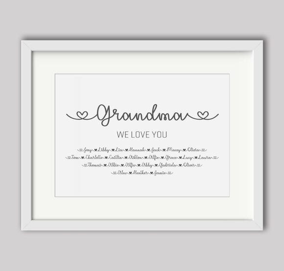 Personalised Grandma We Love You A4 Print