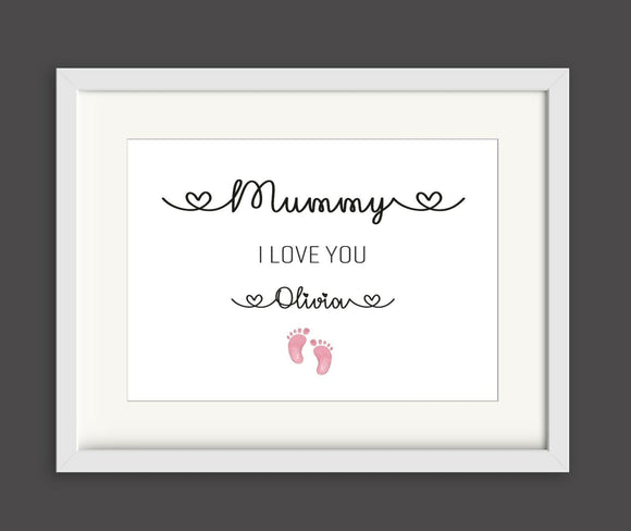 Mummy Little Feet I love you Personalised A4 Print