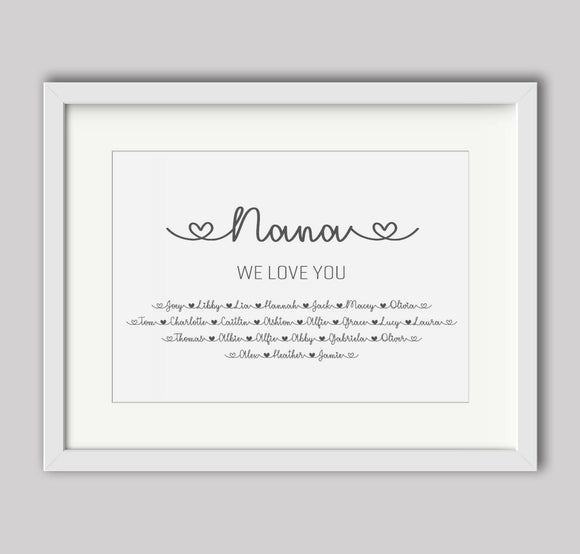 Personalised Nana We Love You A4 Print
