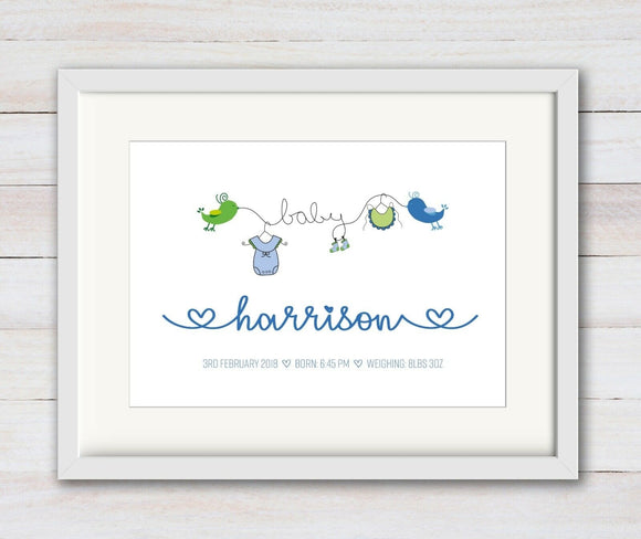 Personalised Baby Boy Newborn Birds Design A4 Print