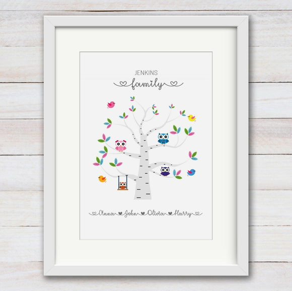 Personalised Owls Family Tree A4 Print