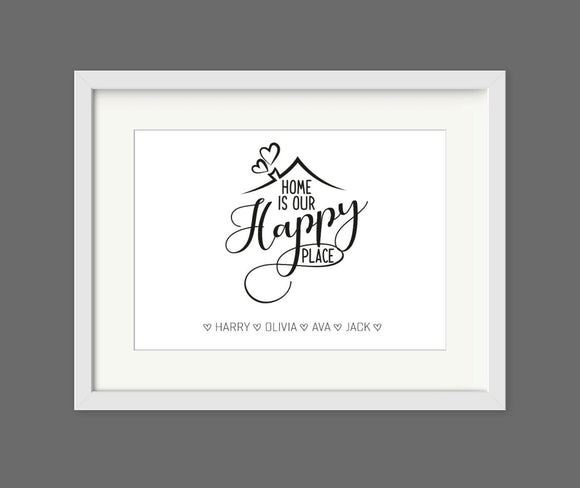 Personalised Home is Our Happy Place A4 Print