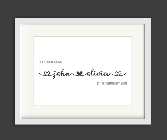 Personalised Our First Home A4 Print