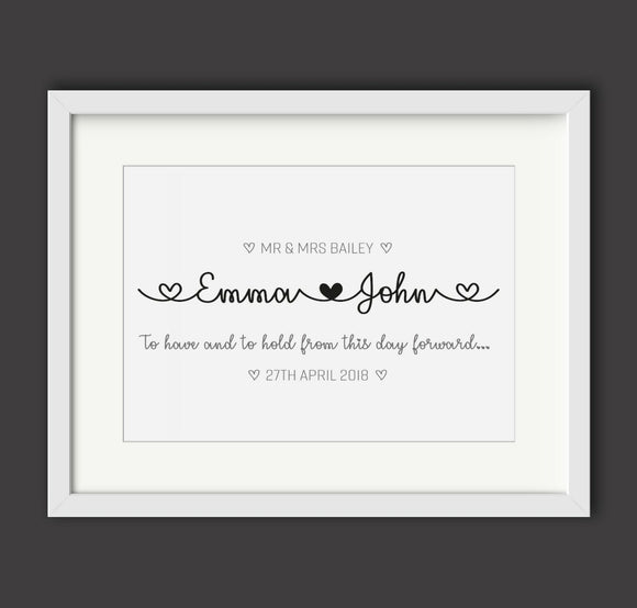 Personalised Wedding Mr and Mrs A4 Print