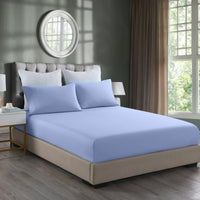 Royal Comfort 2000TC 3 Piece Fitted Sheet and Pillowcase Set Bamboo Cooling - Double - Light Blue