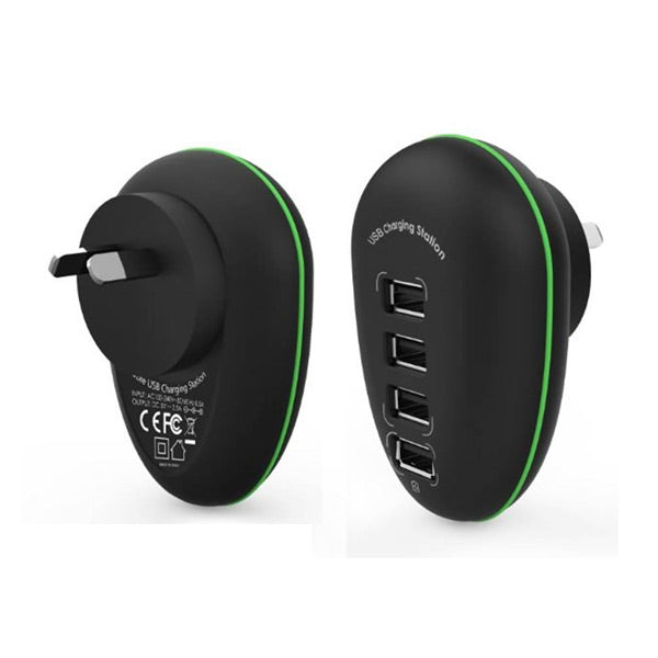 Portable 4 Port USB Charge Station including a 2.4A Fast-charging Port