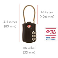 2 x TSA Approved 3 Digit Combination Locks Cable Luggage Suitcase Security Locks