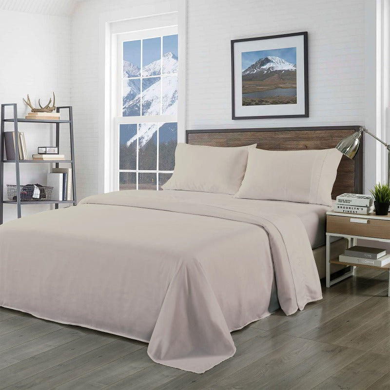Royal Comfort Bamboo Blended Sheet & Pillowcases Set 1000TC Ultra Soft Bedding - Queen - Warm Grey