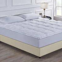 Royal Comfort 1000GSM Luxury Bamboo Fabric Gusset Mattress Pad Topper Cover - Queen - White