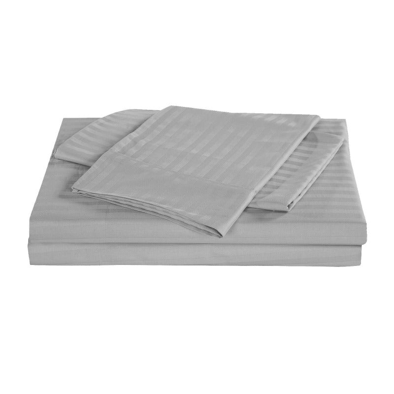 Kensington 1200 Thread Count 100% Egyptian Cotton Sheet Set Stripe Hotel Grade - Queen - Silver
