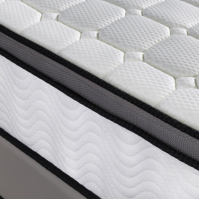 Ergopedic Mattress 5 Zone Latex Pocket Spring Mattress In A Box 30cm All Sizes - King Single - White  Grey  Black