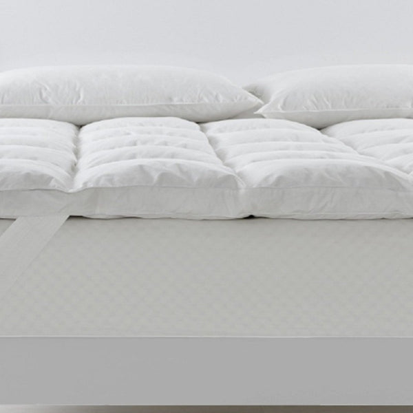 Royal Comfort Duck Feather and Down Mattress Topper 1800GSM Pillowtop Underlay - Double - White