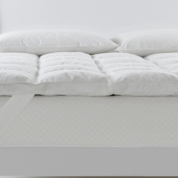 Royal Comfort Duck Feather and Down Mattress Topper 1800GSM Pillowtop Underlay - Queen - White
