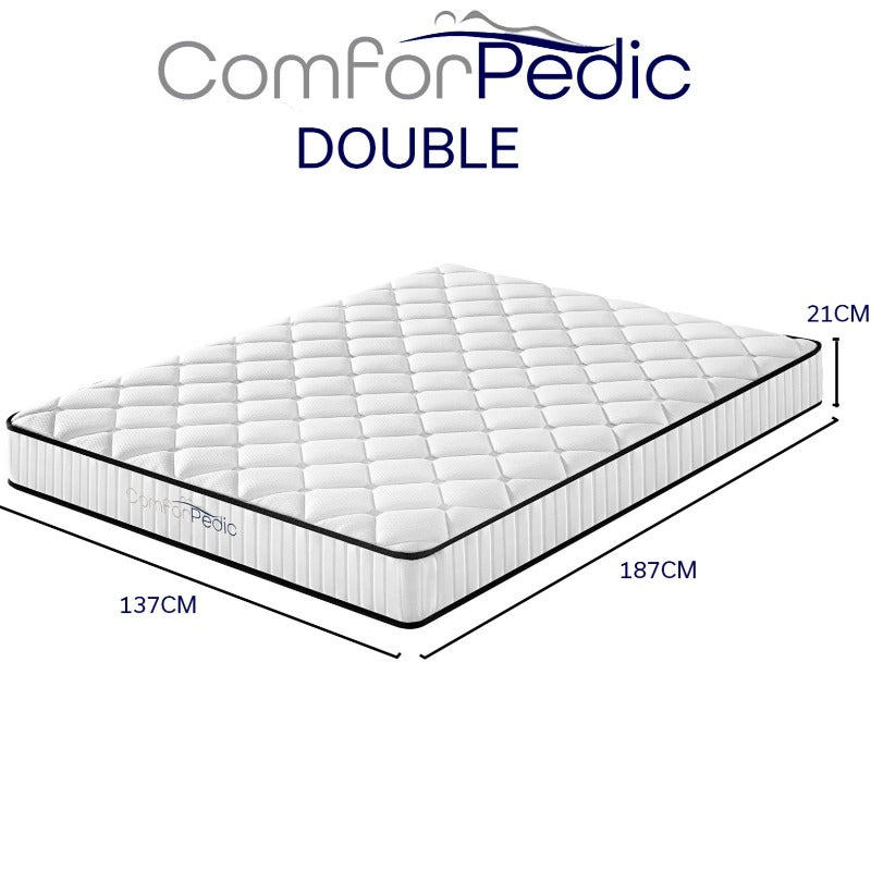 Comforpedic Mattress 5 Zone Euro Top Medium Support Bonnell Spring 21CM - Double - White  Black