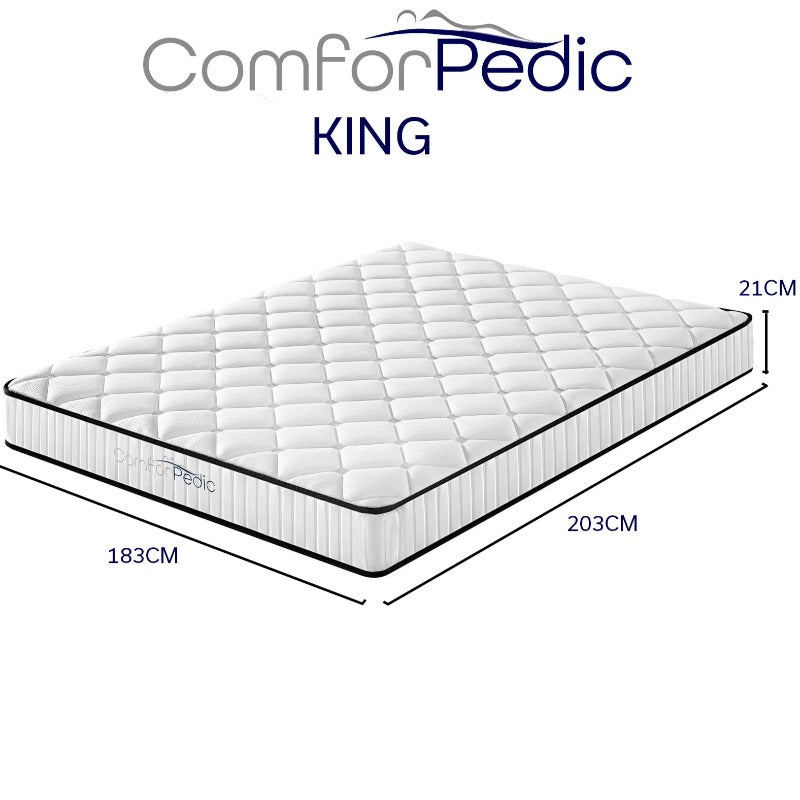 Comforpedic Mattress 5 Zone Euro Top Medium Support Bonnell Spring 21CM - King - White  Black