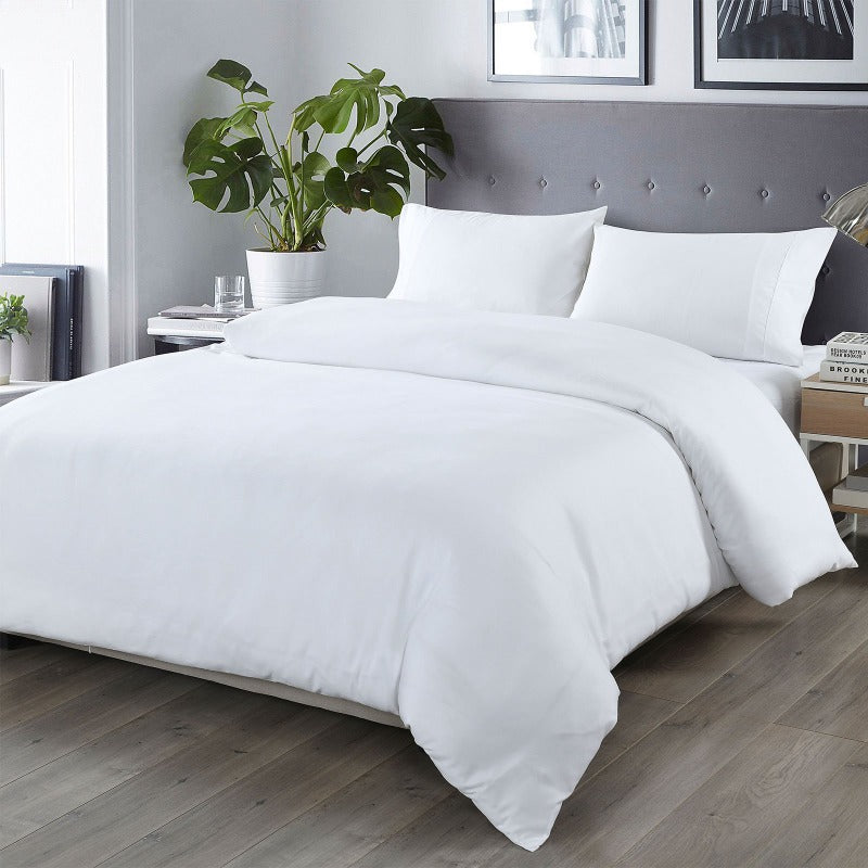 Royal Comfort Bamboo Blended Quilt Cover Set 1000TC Ultra Soft Luxury Bedding - Double - White