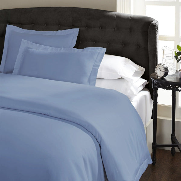 Ddecor Home 1000 Thread Count Quilt Cover Set Cotton Blend Classic Hotel Style - Queen - Blue Fog