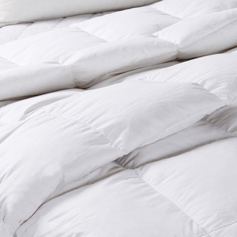 Royal Comfort 50% Goose Feather 50% Down 500GSM Quilt Duvet Deluxe Soft Touch - Queen - White