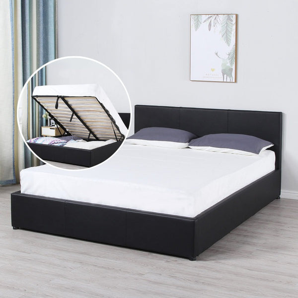 Milano Luxury Gas Lift Bed Frame And Headboard Queen King Black Beige Dark Grey - Queen - Black