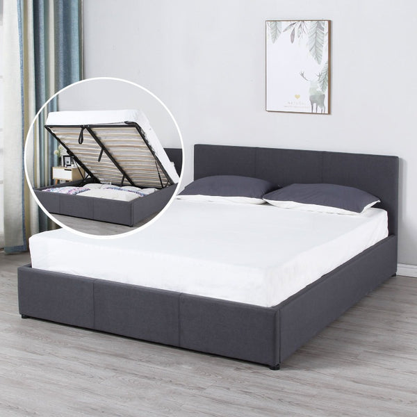 Milano Luxury Gas Lift Bed Frame And Headboard Queen King Black Beige Dark Grey - King - Dark Grey