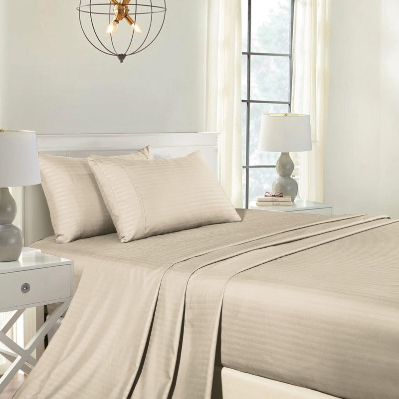 Royal Comfort Cooling Bamboo Blend Sheet Set Striped 1000 Thread Count Pure Soft - King - Sand