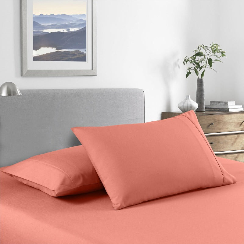 Royal Comfort 2000 Thread Count Bamboo Cooling Sheet Set Ultra Soft Bedding - Queen - Peach