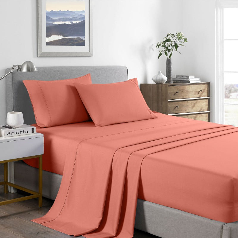 Royal Comfort 2000 Thread Count Bamboo Cooling Sheet Set Ultra Soft Bedding - King - Peach