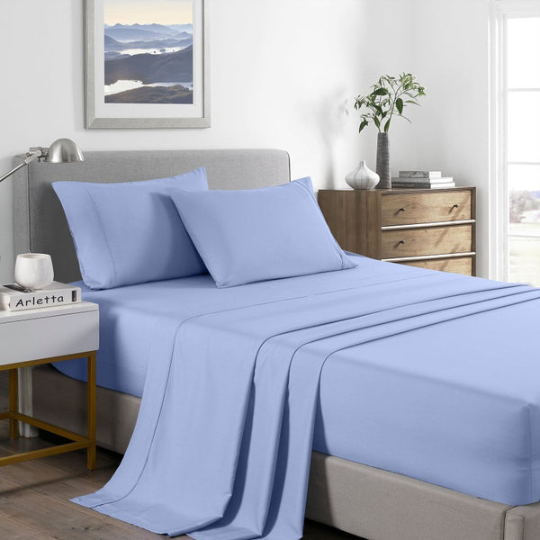 Royal Comfort 2000 Thread Count Bamboo Cooling Sheet Set Ultra Soft Bedding - Single - Light Blue