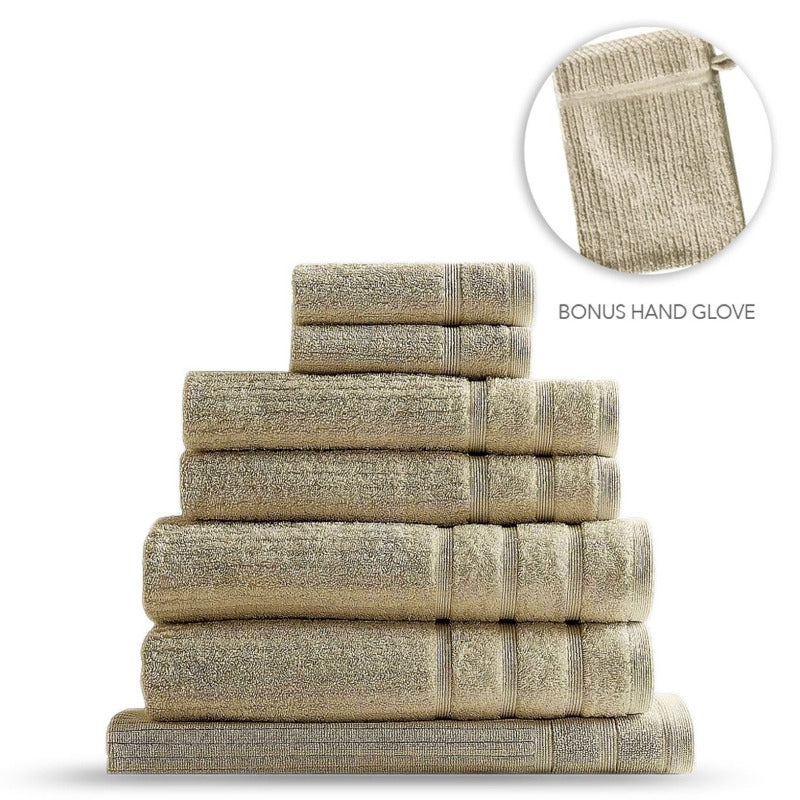 Royal Comfort Eden Egyptian Cotton 8 Piece Towel Set - Beige