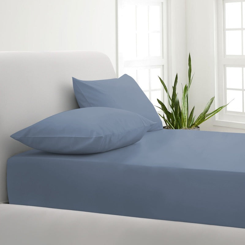 Park Avenue 1000TC Cotton Blend Sheet & Pillowcases Set Hotel Quality Bedding - Double - Blue Fog