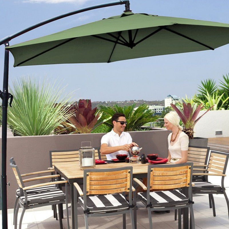 Milano 3M Outdoor Umbrella Cantilever Sun UV Patio Garden Beach Shade Deck Stand - Navy